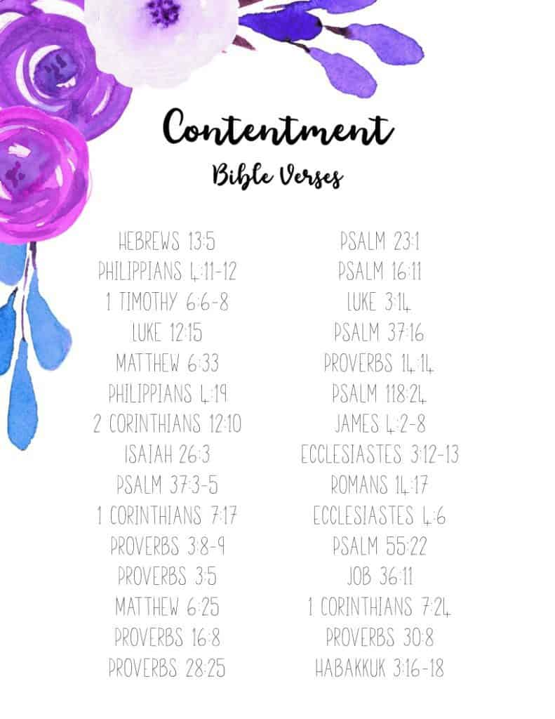 BIBLE VERSES ABOUT CONTENTMENT