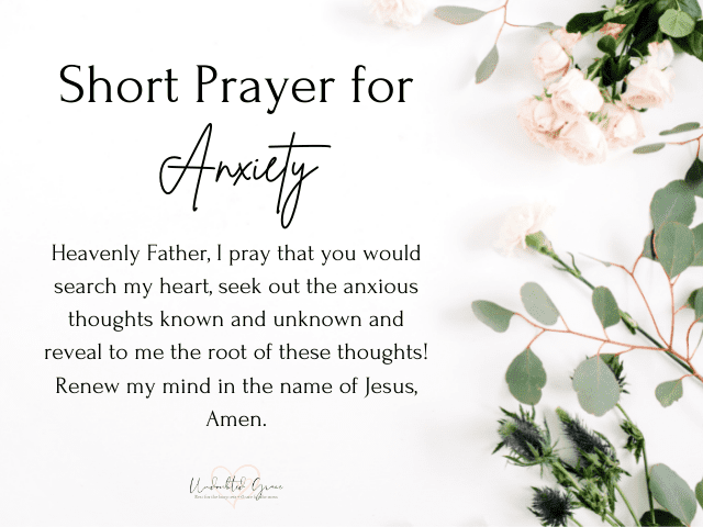 short prayer for anxiety, praying for peace of mind